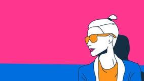 Девушка в стиле искусства шипучки Стрижка моды короткая Блондинка тенденции иллюстрация вектора