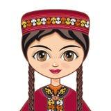 Девушка в туркменском платье Портрет ave Стоковые Изображения