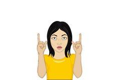Девушка в ударе и с открытым ртом и поднятый ее жесту рук иллюстрация вектора