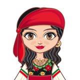 Девушка в цыганском платье одевает историческое Портрет, воплощение Стоковое Фото