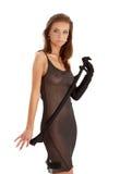Девушка в черных перчатках и черном прозрачном платье Стоковое Изображение RF