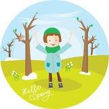 Девушка в шинели, ценах весной паркует и наслаждается поднять его руки вверх Милая иллюстрация в круге Здравствуйте! весна бесплатная иллюстрация
