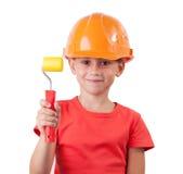 Девушка в шлеме конструкции стоковое фото rf