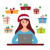 Девушка в шляпе и компьютере Санта Выбор подарков На-линия продажа рождества Шоппинг вектор иллюстрация вектора