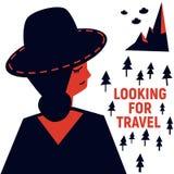Девушка в шляпе ища перемещение Стоковые Фото