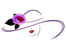 Девушка в шляпе с розой Стоковое Изображение