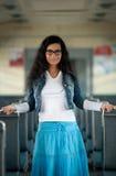 Девушка в электрическом поезде Стоковая Фотография RF
