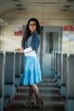 Девушка в электрическом поезде Стоковые Изображения RF