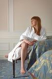 Девушка в bathrobe Стоковые Фотографии RF