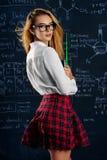 Девушка в checkered юбке Стоковая Фотография RF