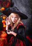 Девушка в costume Halloween Стоковое Фото