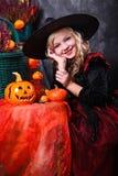 Девушка в costume Halloween Стоковые Изображения RF