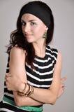 Девушка в striped тунике Стоковое Фото