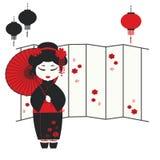 Девушка гейши с зонтиком Стоковое Изображение