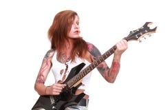 Девушка гитариста панковского утеса Стоковая Фотография