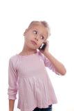 Девушка и мобильный телефон стоковые изображения rf