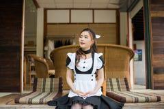 Девушка горничной японского стиля cosplay милая Стоковое фото RF