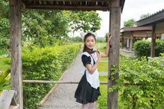 Девушка горничной японского стиля cosplay милая Стоковые Фотографии RF