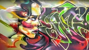 Девушка граффити Стоковое Фото