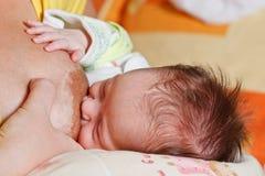 девушка груди младенца ее всасывать мати s стоковая фотография rf