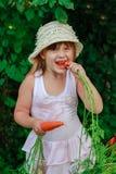 Девушка грызет морковь Стоковые Изображения RF
