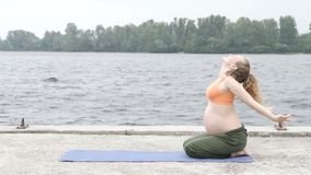 Девушка делая йогу в парке на летний день акции видеоматериалы