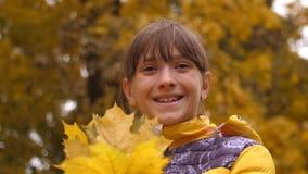 Девушка держа в кленовых листах рук в парке и усмехаться осени видеоматериал