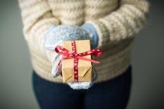 Девушка держа коробку с подарком на рождество Стоковое Изображение
