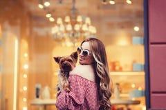 Девушка держа маленькую собаку Стоковая Фотография