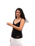 девушка держит ваше продукта предназначенное для подростков стоковые фото