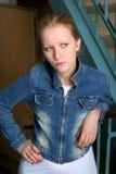 девушка джинсовой ткани Стоковые Изображения RF