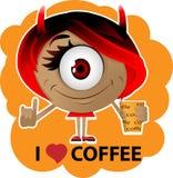 Девушка дьявола с кофе в руке Стоковые Изображения