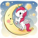 Девушка единорога шаржа на луне Стоковая Фотография
