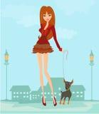 девушка ее щенок Стоковое фото RF