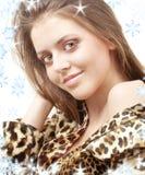 Девушка леопарда стоковая фотография rf