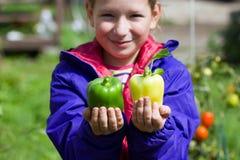 Девушка держа болгарский перец Стоковое Изображение