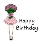 Девушка держа букет роз с предпосылкой текста - с днем рождения иллюстрация штока