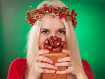 Девушка держа подарок рождества Стоковое Изображение