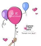 Девушка держа розовый воздушный шар Стоковая Фотография RF