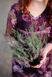 Девушка держа цветки в ее руках Стоковая Фотография