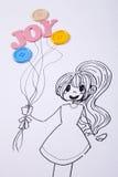 Девушка держа balllon Стоковые Фотографии RF