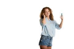 Девушка держит игрока Стоковое Изображение RF