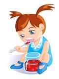 Девушка есть варенье вишни Бесплатная Иллюстрация