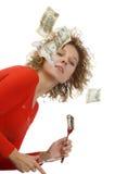 Девушка есть деньги стоковое изображение rf