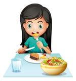 Девушка есть ее обед иллюстрация вектора