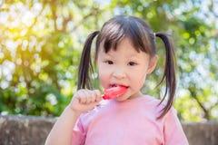 Девушка есть мороженое в парке Стоковое Изображение RF
