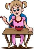 Девушка ест еду иллюстрация вектора