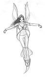 Девушка летания с крылами иллюстрация штока