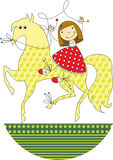Девушка ехать лошадь Стоковые Фото