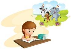 Девушка делая домашнюю работу иллюстрация вектора